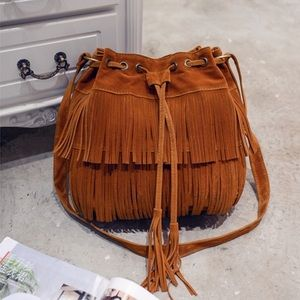 Brown and cream tassels in front leather bags